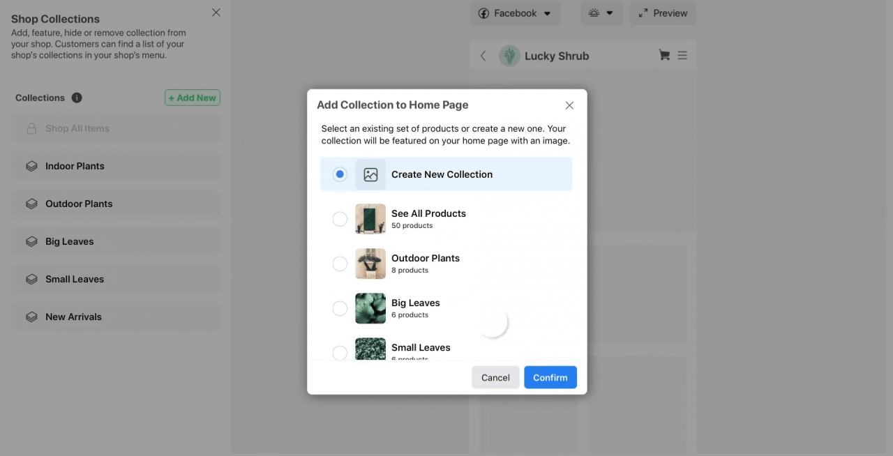 How to set up Facebook Shop: publishing a collection