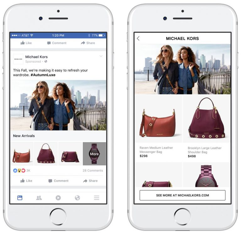 An example of a Facebook shop collection
