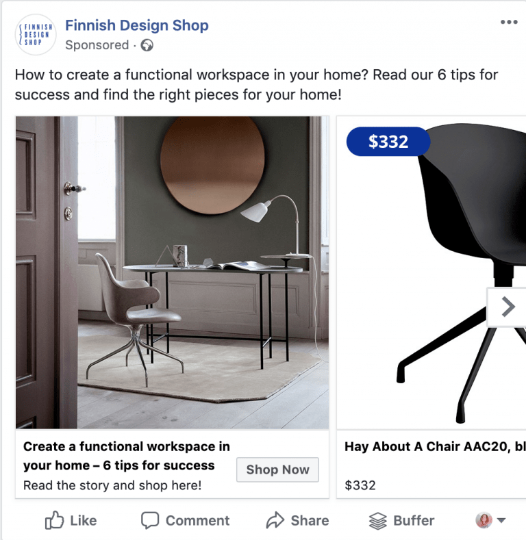 An example of a Facebook ad