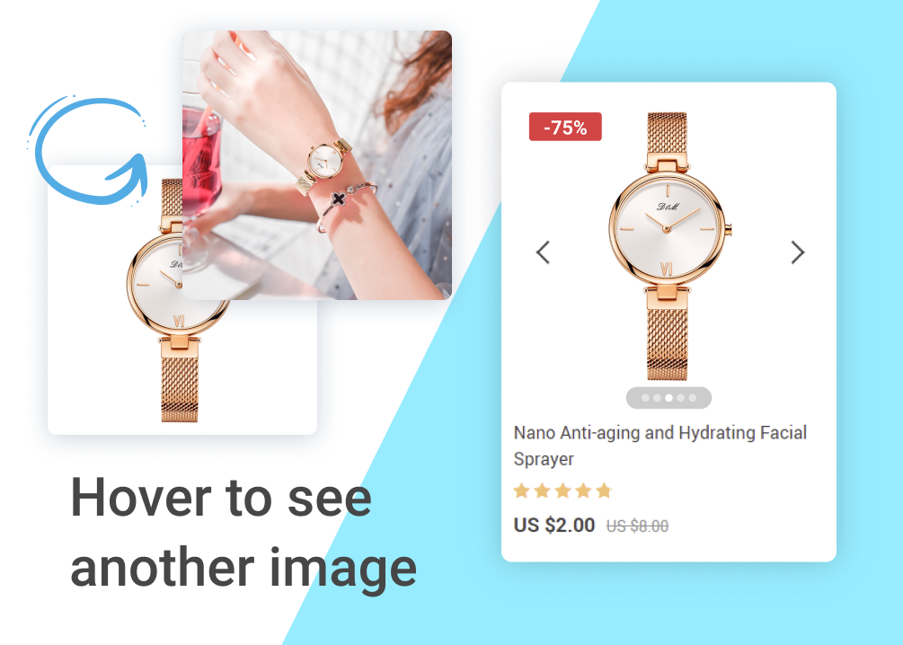 Setting up pictures shown when hovering on a product