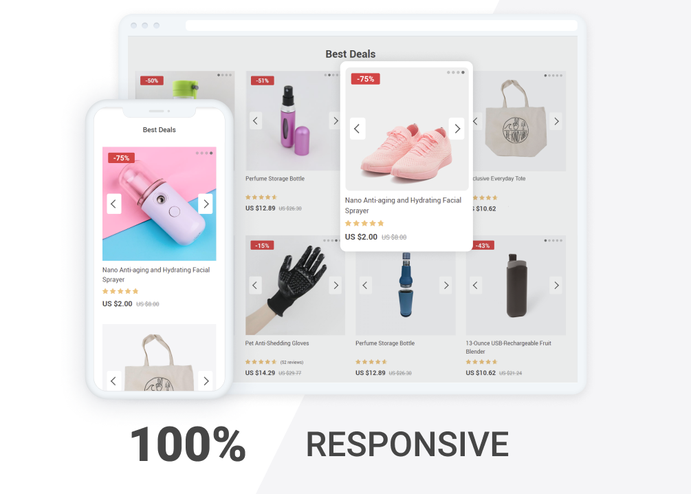 Adaptive design offered by Product Slideshow addon