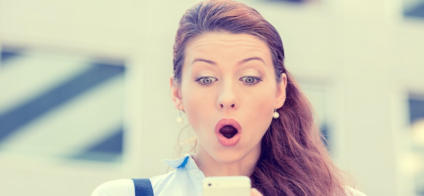 a picture showing a surprised woman