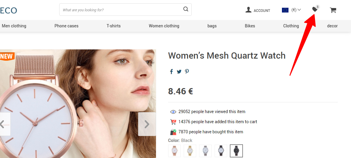 Wish List add-on's button in the header of an online store.