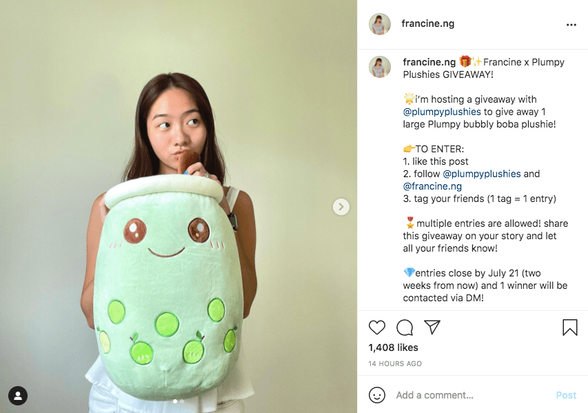 An Instagram giveaway post example