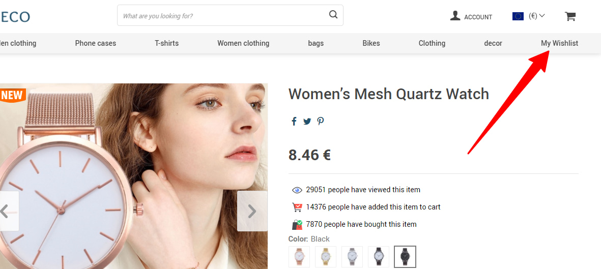 Wish List add-on's button in the menu of an online store.