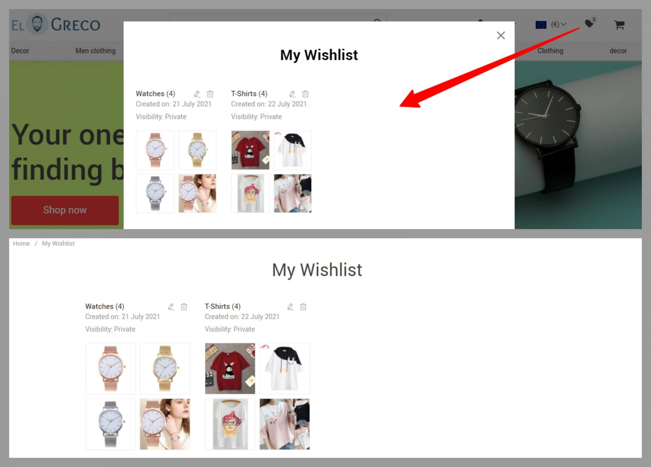 Wish lists displayed as a pop-up window and as a separate page on an online store.