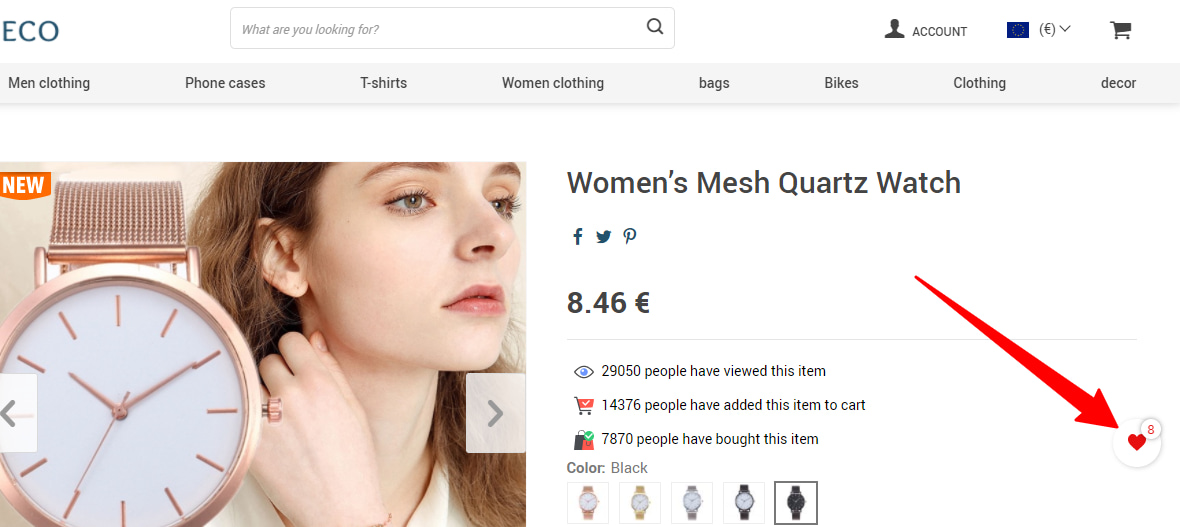 Wish List add-on's floating button in an online store.