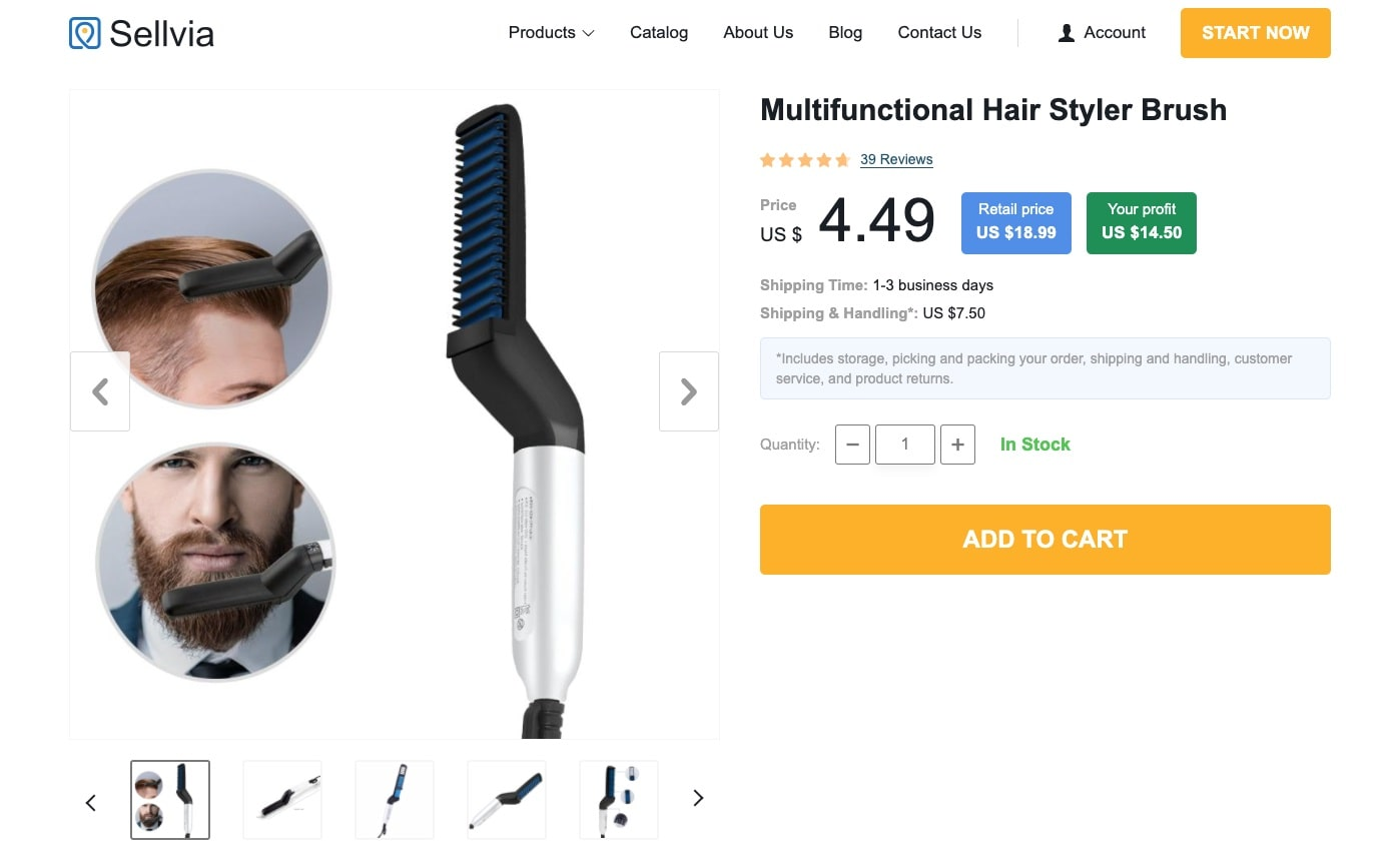 a screenshot of Sellvia that is happy to supply you with trending hair accessories at low prices and with fast shipping