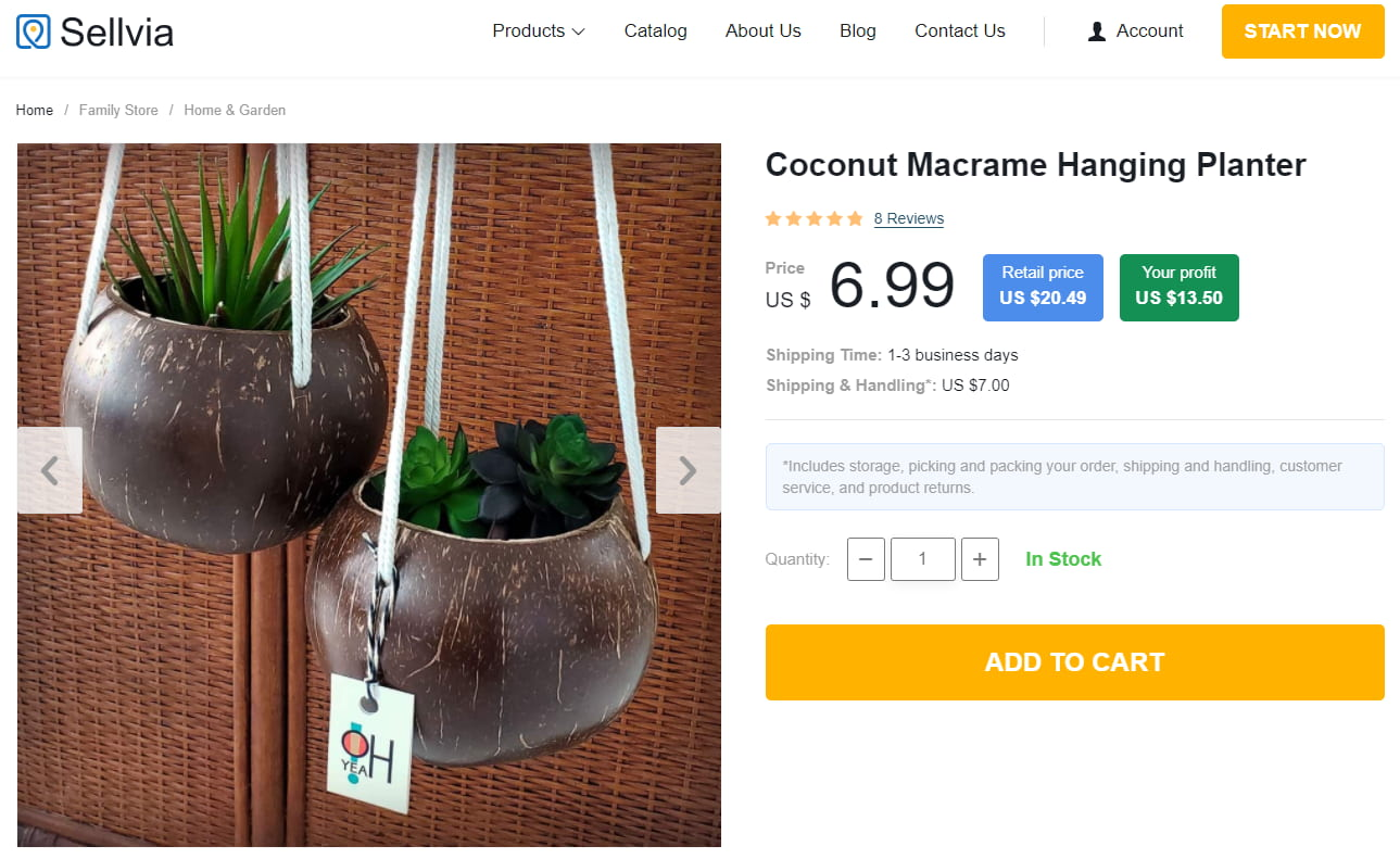 Coconut Macrame Hanging Planter as an example of home decor products