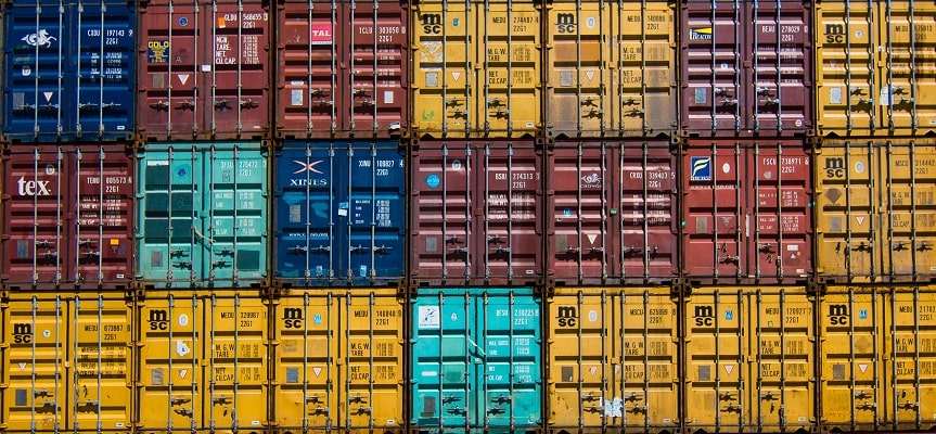 a picture showing containers as Alibaba is a b2b platform