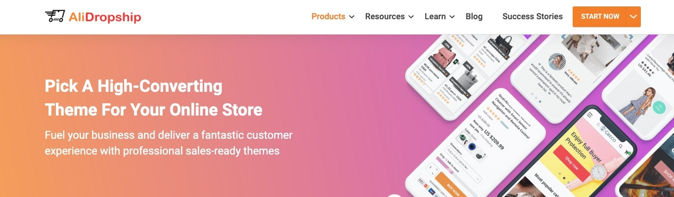 a screenshot showing why it's a great idea to use themes by AliDropship