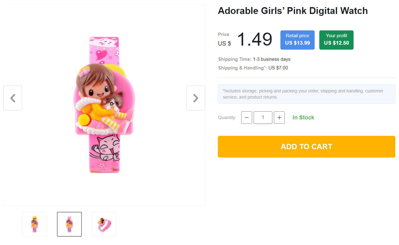 Pink digital wristwatch for girls