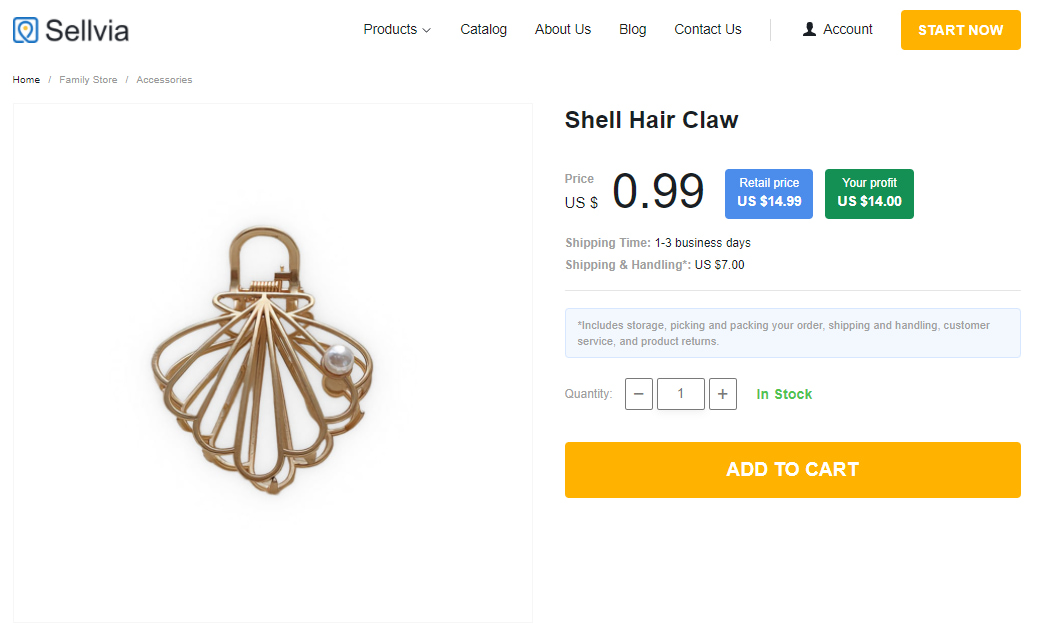 A shell-shaped hair claw